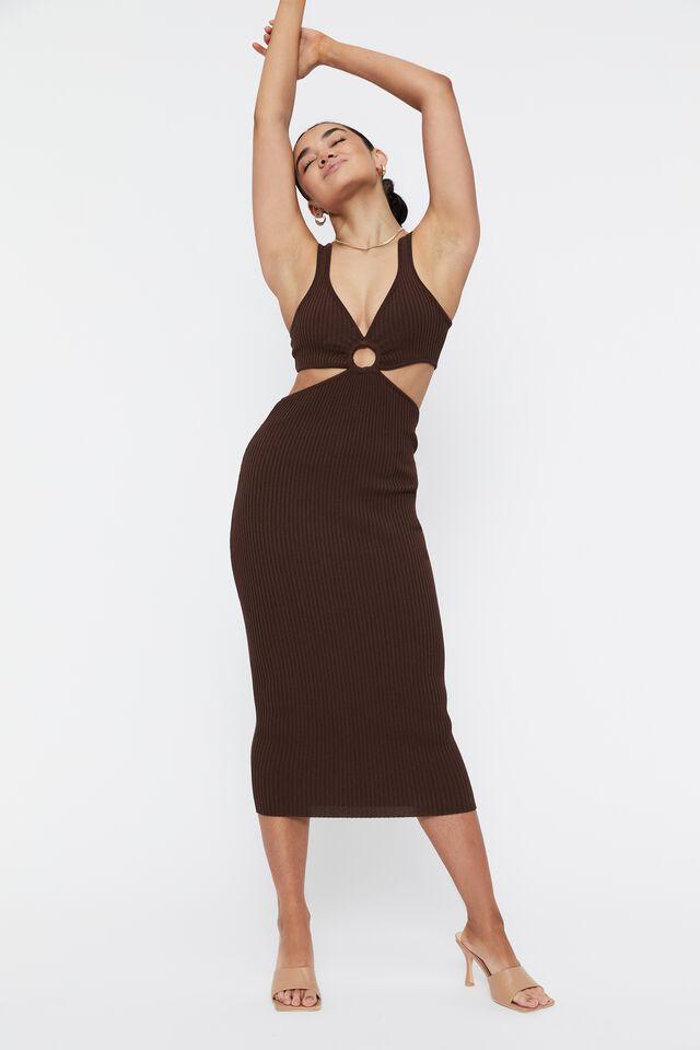 Perla Ring Front Midi Dress, BRUNETTE