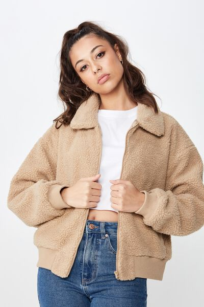 Faux Fur Zip Bomber, BISCUIT