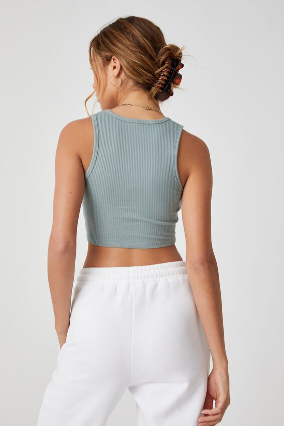 Evalyn V Neck Crop Tank, WILLOW GREEN