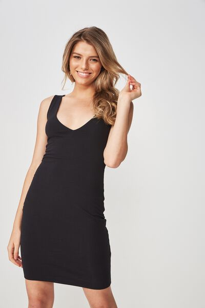 V Neck Mini Dress, BLACK