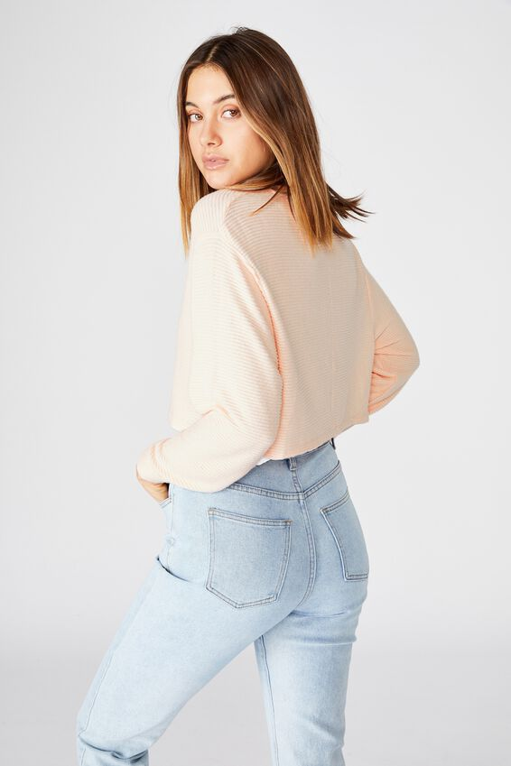 Taylor Crew Neck Long Sleeve Top, PINK FLOSS