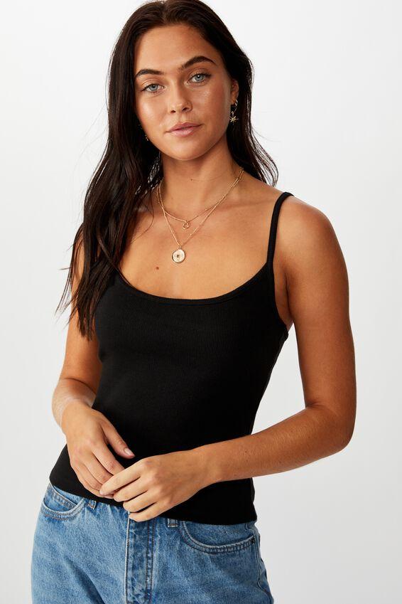 Tatiana Rib Cami, BLACK
