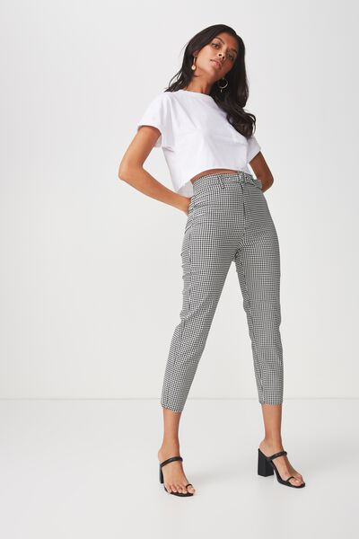 Belted Slim Leg Pant, CLASSIC HOUNDSTOOTH