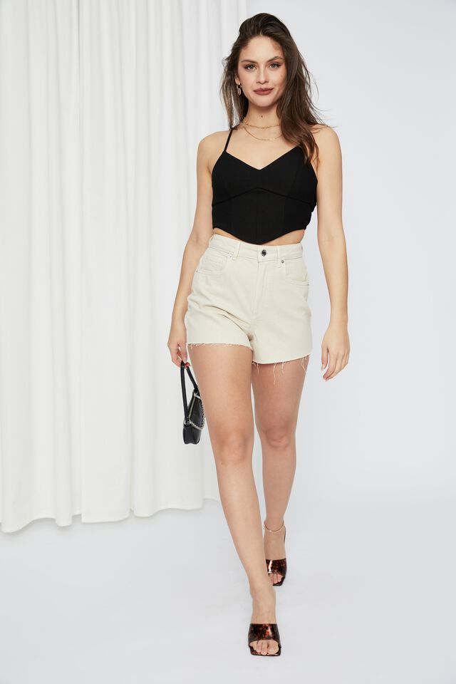 Molly Tie Up Backless Top, BLACK