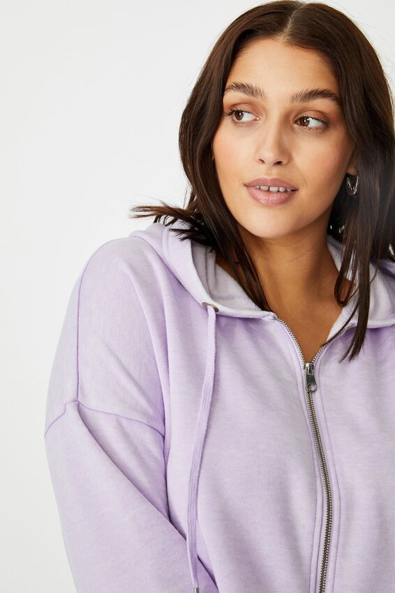 Tessa Zip Through Crop Sweat, WASHED COOL LAVENDER