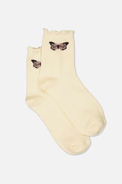 Frilled Edge Icon Socks, BUTTERFLY