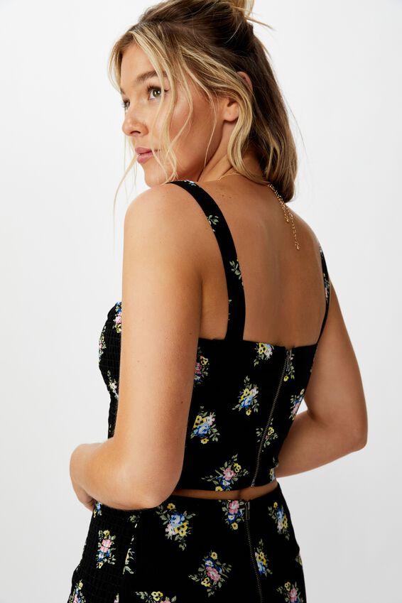 Nina Shirred Side Top, BLACK BOUQUET FLORAL