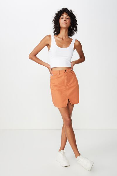 Naomi Mini Skirt, TOFFEE
