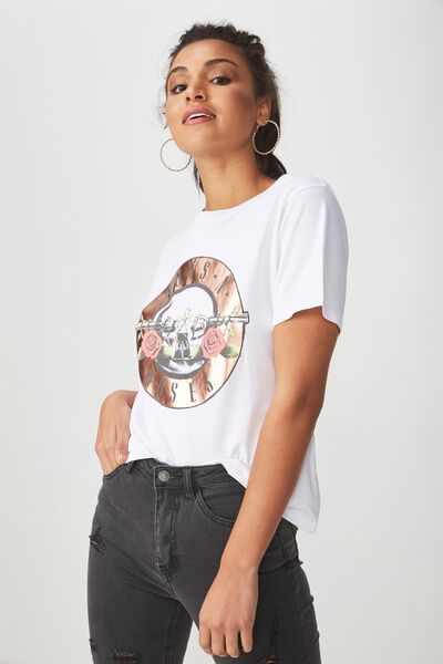 Girl Gang Tee, WHITE/GUNS AND ROSES