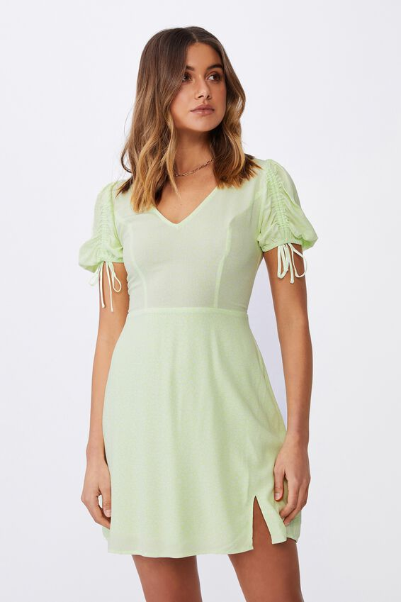 Iris Gathered Sleeve Tea Dress, CORA MONO FLORAL LIME