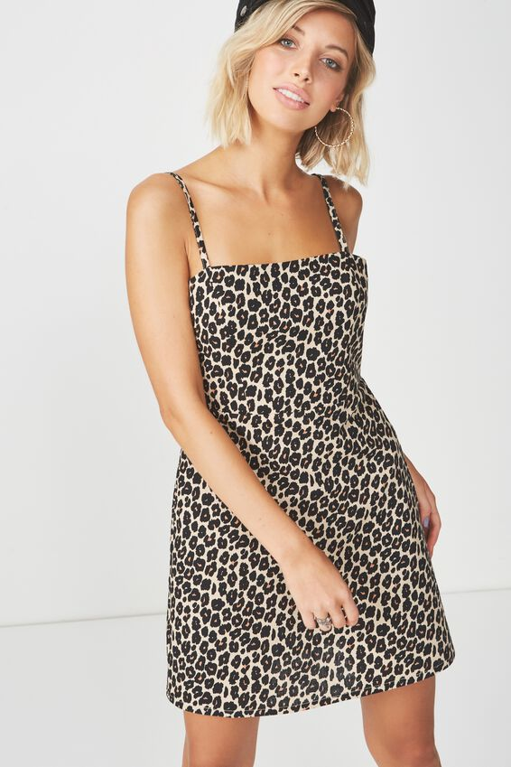 Basic 90s Fitted Cami Dress, DIANA LEOPARD