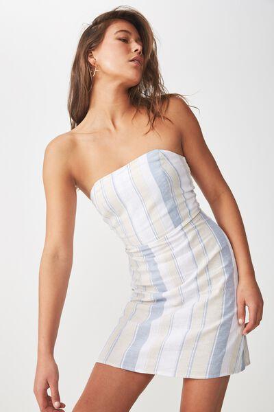 Strapless Mini Dress, BLUE SAND STRIPE