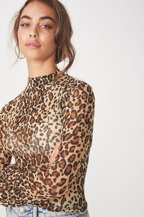 Lily Long Sleeve Mesh Top, OCELOT LEOPARD