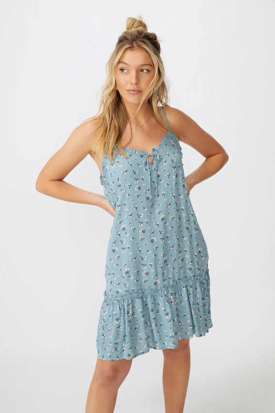 Olivia Tiered Frill Hem Dress, CLUSTERED SPROUT SAGE