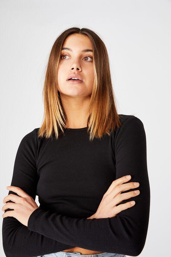 Ash Long Sleeve Rib Top, BLACK