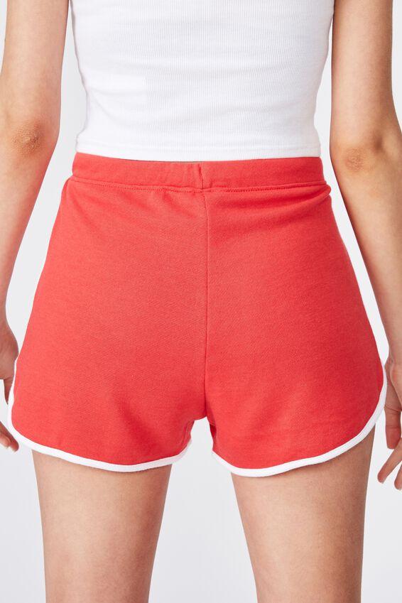 Customised Emma Sweat Short, CANDY APPLE/WHITE