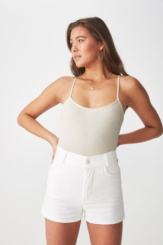 Jaimie Thin Strap Bodysuit, CREAM PUFF