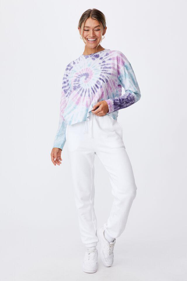 Talia Long Sleeve T Shirt, SWIRL TIE DYE (PRSM PLM/PCCK BL/PL BL)