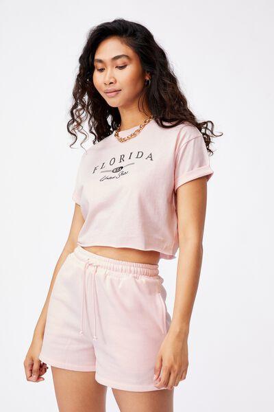 Tamara Printed Crop T Shirt, CHALK PINK/FLORIDA USA