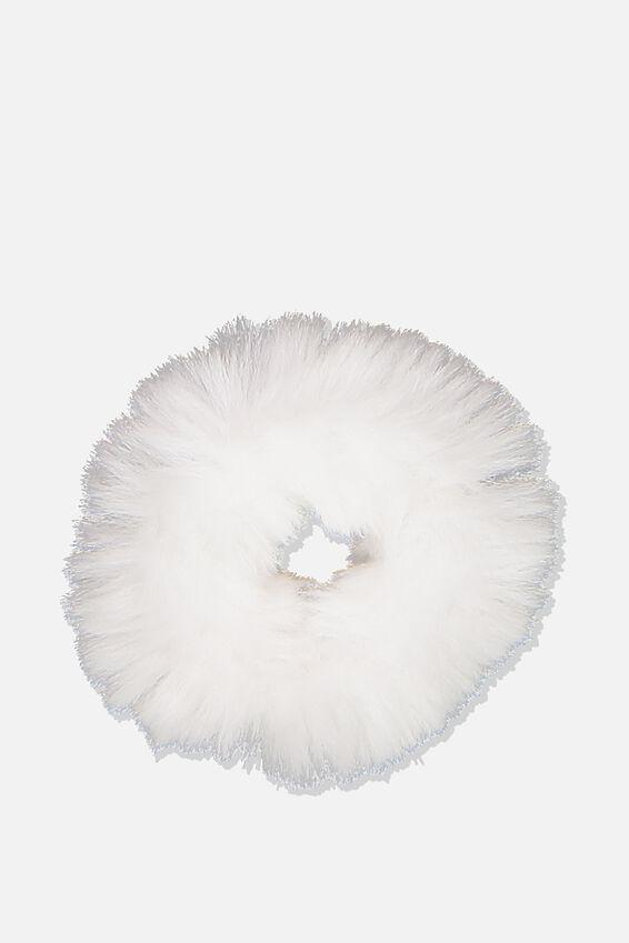 Fluffy Scrunchie, WHITE