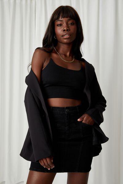 Clara Stretch Denim Mini Skirt, BLACK PANEL