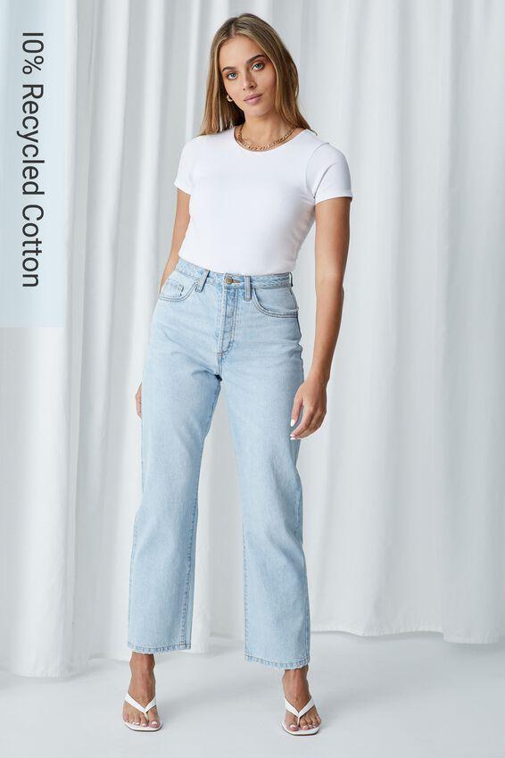 High Rise Straight Jean, SUNDAY BLUE