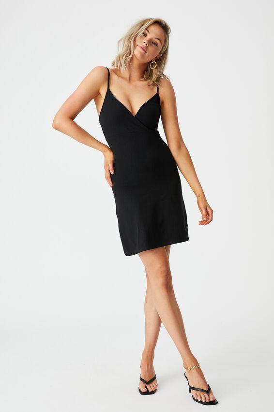 Kira Cross Front Jersey Dress, BLACK