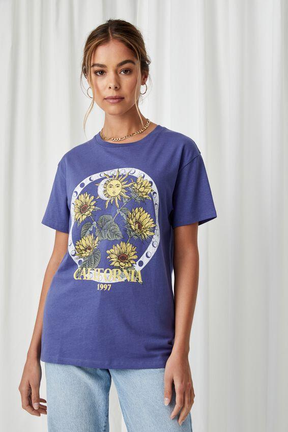 Lola Printed Longline T Shirt, COBALT NAVY/MYSTICAL FLOWERS