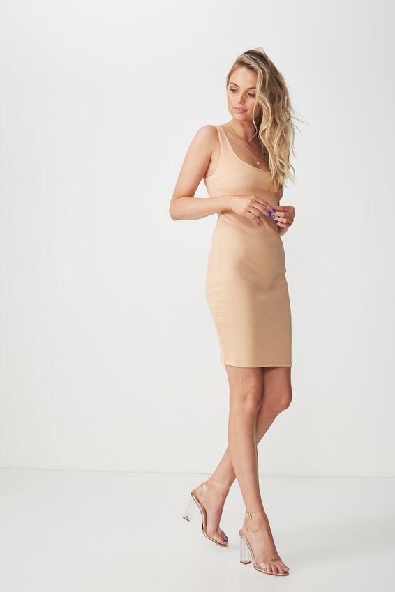Rib Bodycon Mini Dress, CHAMPAGNE PEACH