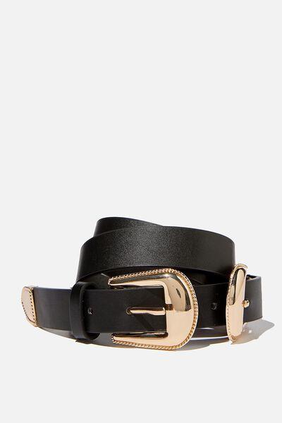 Double Western Belt, BLACK/SHINY GOLD