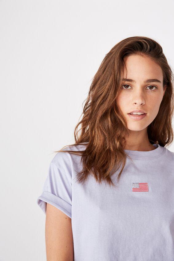 Tamara Graphic Crop Tee, LAVENDER SKY/USA FLAG