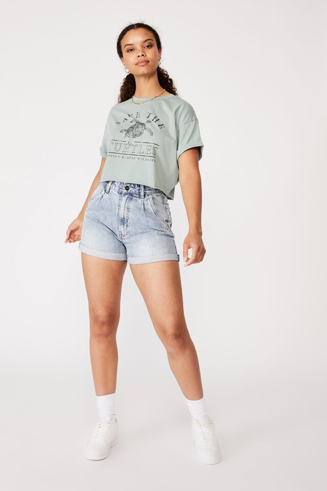 Tamara Printed Crop T Shirt, SOFT MOSS/SAVE THE TURTLES