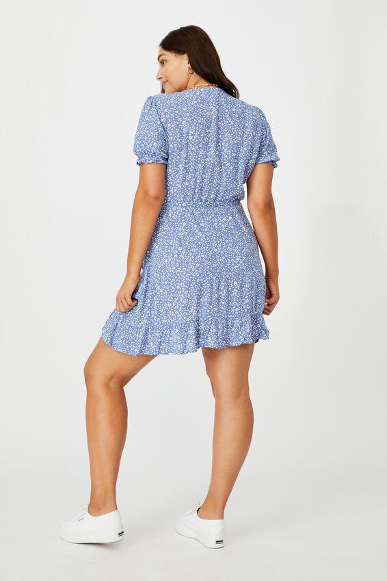 Ellie Peasant Sleeve Wrap Dress, PETAL CONFETTI BLUE