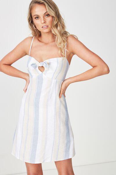 Harper Tie Front Dress, BLUE SAND STRIPE