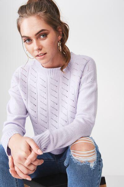 Leyla Longsleeve Cable Knit, ENGLISH LAVENDAR