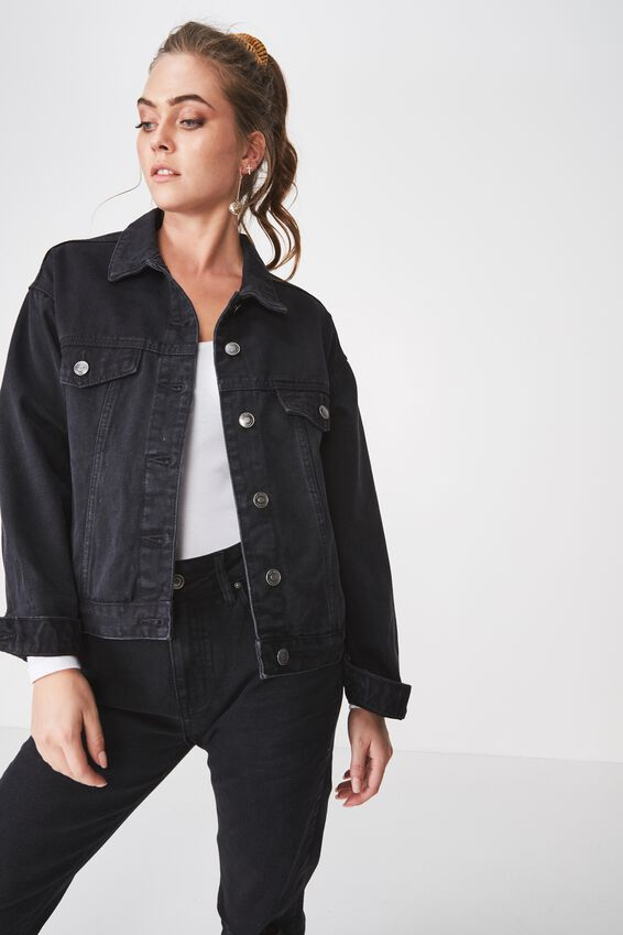 80S Denim Jacket, WASHED BLACK