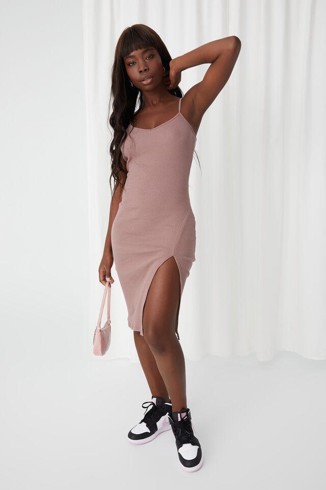 Gemma Split Midi Dress, CHOC MALT