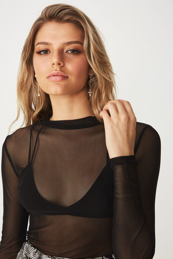 Lily Long Sleeve Mesh Top, BLACK