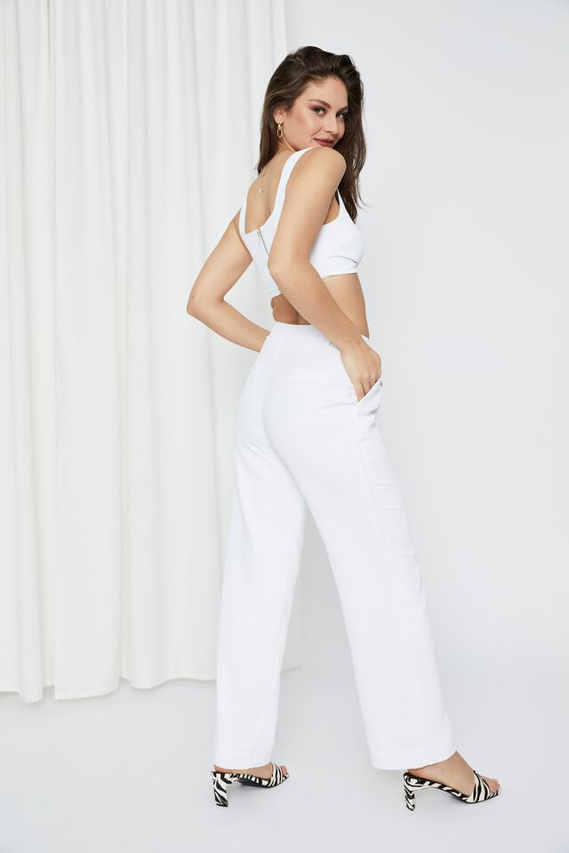 Britney Mid Rise Tailored Pant, WHITE