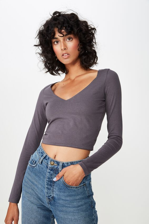 Long Sleeve V Neck Crop Top, GRANITE GREY