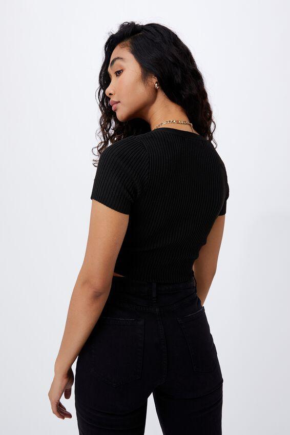 Rib V Neck Short Sleeve Top, BLACK