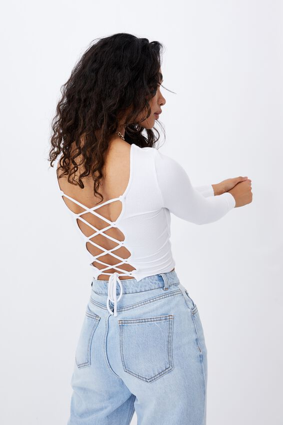 Ariana Lace Up Top, WHITE