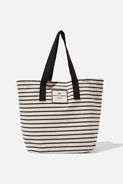 Canvas Tote Bag, BLACK STRIPE