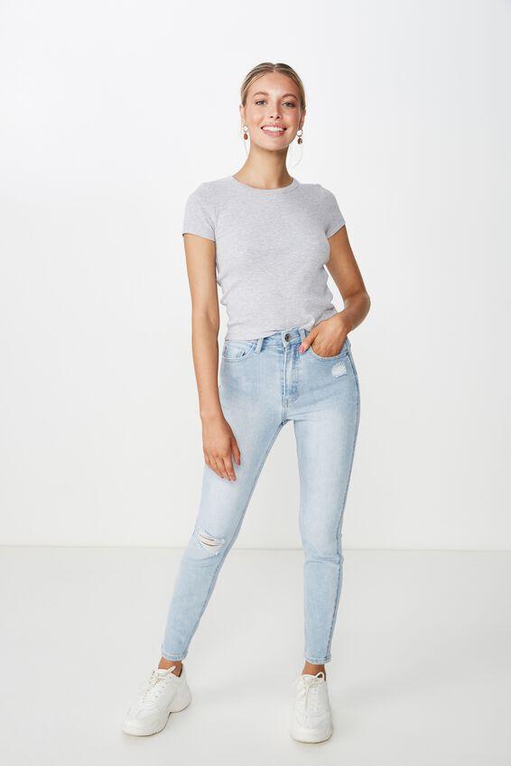 Skinny Premium Ankle Grazer Jean, LIGHT VINTAGE BLUE