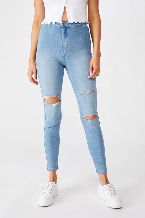 Super Skinny Sky High Ripped Jean, CHARMING BLUE RIPPED