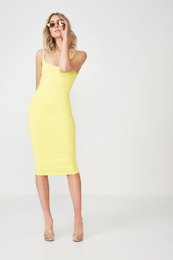 Party Thin Strap Midi Dress, BUTTERCUP