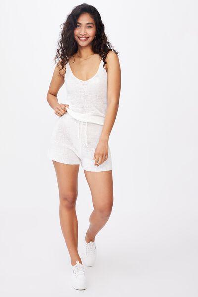Lindsey Knit Short Co Ord Set, WHITE