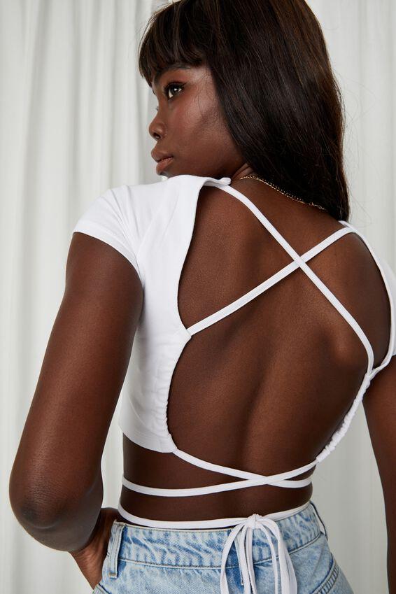 Estelle Open Back Tie Up Top, WHITE