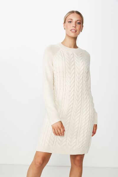 Tanya Knit Dress, CREAM PUFF