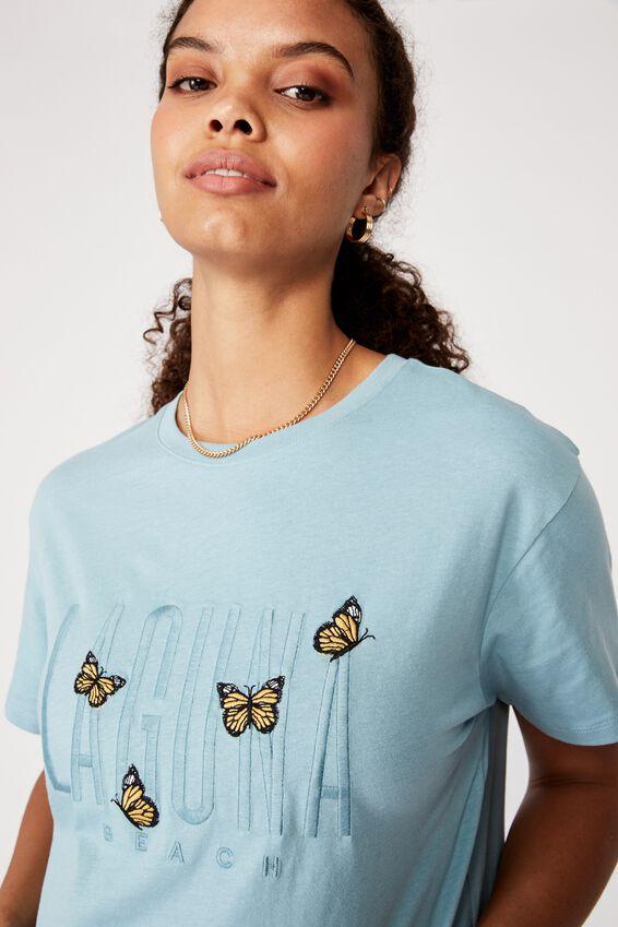 Laguna Beach Longline T Shirt, ISLAND BLUE/LAGUNA BEACH